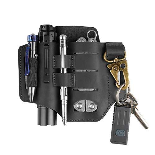 VIPERADE PJ16 Lederscheide, Multitoolscheide/Werkzeuge Holster/Messergürtelscheid/Taschenlampenscheide für Leatherman Multitools, Organizerscheide mit 3 Taschen (Verbessertes Schwarz)