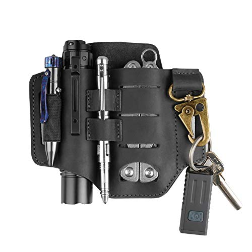 VIPERADE PJ16 Leather Sheath for Belt, Tool Leather Sheath for Knife, Knife Leather Sheath for men, Multitool Sheath for Leatherman, Flashlight Holster EDC Pocket Organizer with Key Holder (Black)