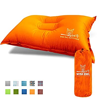 Wise Owl Outfitters Camping Pillow Lightweight & Self Inflating – Inflatable Foam & Air Compact Camp Pillow Best Lumbar Support Travel Airplane Camping Beach Hammock Backpacking Hiking Sleeping-Orange