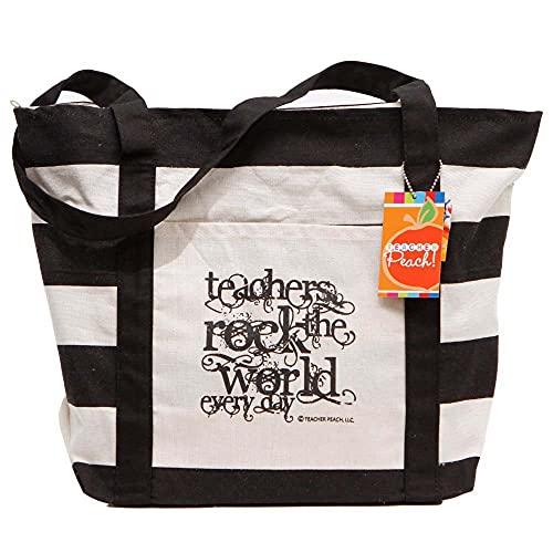 Teacher Peach Teachers Rock Große Canvas-Tragetasche mit Taschen und Reißverschluss, schwarz (Schwarz) - LYSB00UW1NBAS-OFFSUPPLIES