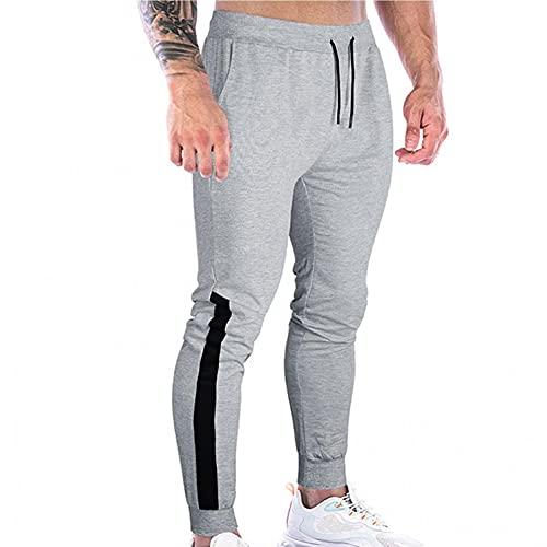 WXZZ Pantalones largos de deporte para hombre, pantalones de chándal, pantalones de chándal, pantalones de chándal, para tiempo libre, correr, a rayas, bajos estrechos, gris, S