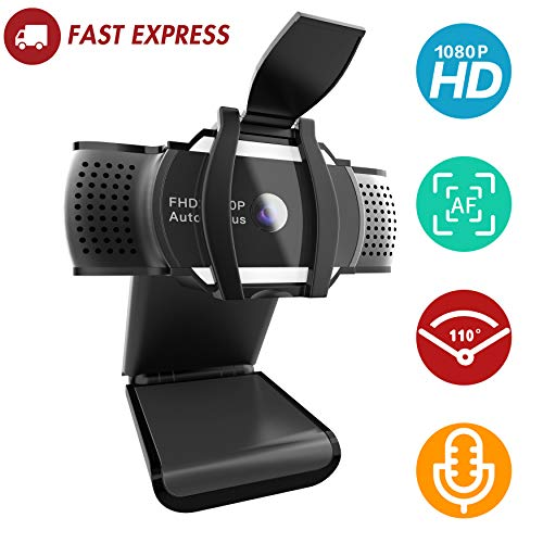 FOGEEK Webcam 1080P mit Mikrofon und Privacy Cover,HD Autofokus-Kamera für Konferenzen,Videoanrufe,Aufzeichnung und Streaming[Installation eines kostenlosen Treibers] USB-Kamera für PC Laptop Desktop