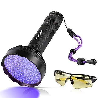 YOUTHINK UV Torch, 128 LED UV Flashlight with UV Protection Glasses, 395nm Upgraded 128 LED Flashlight Black Light Ultraviolet Lamp, Dog Cat Urine Detector, for Carpet/Floor 1