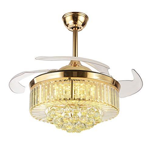 OUKANING Ventiladores de techo retráctiles de cristal con forma de abanico moderno con luz de 3 color y ventilador de araña de cristal LED invisible remoto para sala de Estar(36 pulgadas dorado)