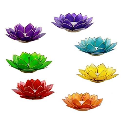 Panotophia 7 Chakra Lotus Kerzenhalter Set 7 Teelicht Capiz Windlicht Teelichthalter