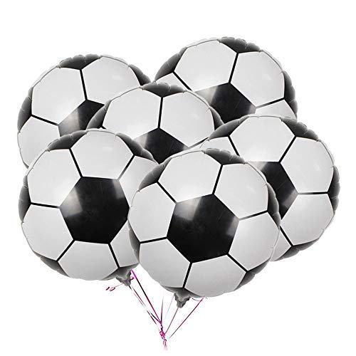 Oumezon - 15 palloncini a forma di pallone da calcio, in pellicola di alluminio, palloncini a elio, addobbi per feste di compleanno e feste di bambini