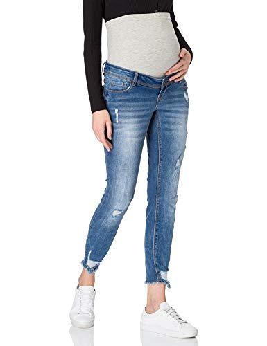Mamalicious MLTARAGONA 7/8 Slim Destroy Jeans A, Denim Bleu médium, 30W x 35L Femme