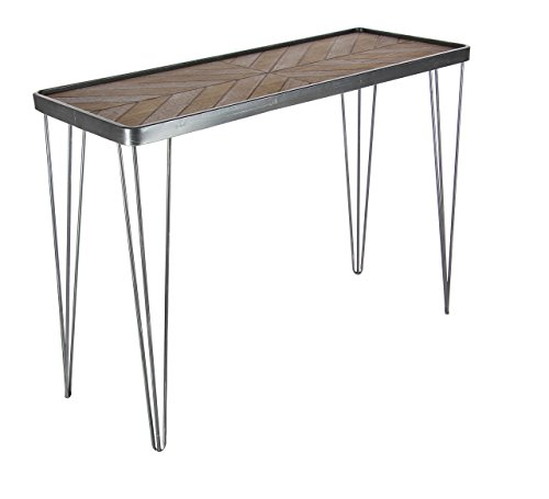 """Deco 79 39""""/29"""" Metal And Wood Console Table, 39"""" x 29"""", Brown/Silver"""