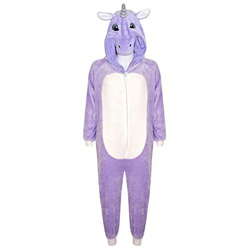 A2Z 4 Infantil Niños Niña Mono Extra Suave Mullido Unicornio Todo En Uno Disfraz Halloween New 7 8 9 10 años 11 12 13 14 Años - Morado, 11-12 Years