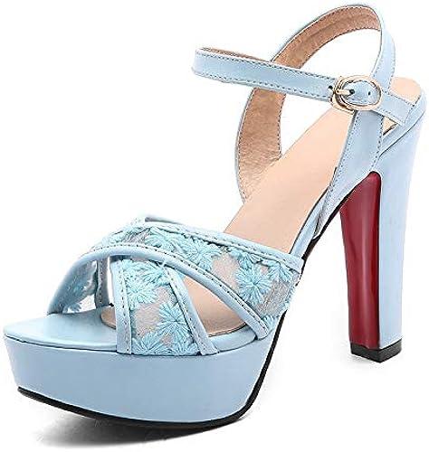 HOESCZS 2018 Moda Tamaño Grande 32-43 schuhe de damen Silberforma de tacón Alto Correa con Hebilla schuhe damen Sandalias de damen Zapato de Moda