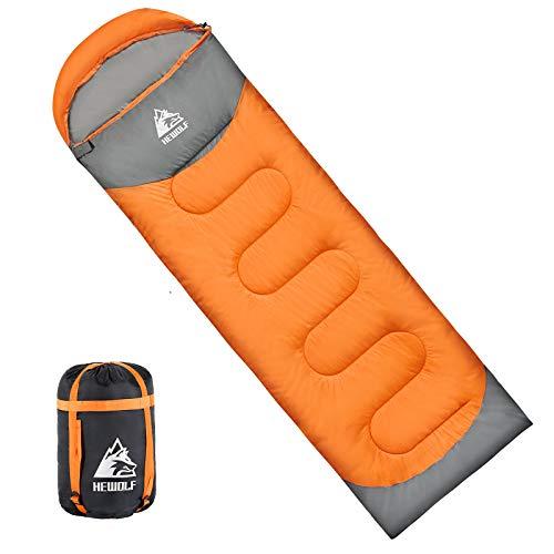 HEWOLF寝袋 封筒型 190T防水シュラフ 軽量 保温 連結可能 アウトドア 丸洗い可能 コンパクト オールシーズン スリーピングバッグ キャンプ 登山 車中泊 防災用 収納袋付き 1.3KG 1.6KG 1.8KG 快適温度15度-5度 (オレンジ, 1.3kg-右)