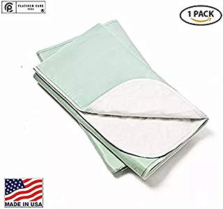 Platinum Care Pads Made in USA, Heavy Duty Reusable Bedpad, Underpad or Chuck pad, for Incontinence use Washable 80x35 Green