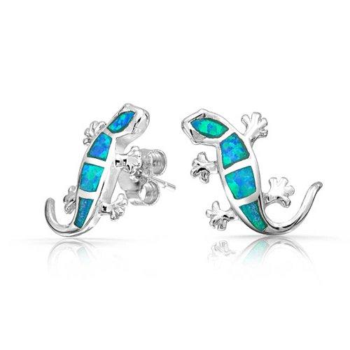 Creado Azul Opal Inlay Jardín Pendiente De Boton Lagarto Gecko Para Mujer 925 Octubre Piedra De Nacimiento