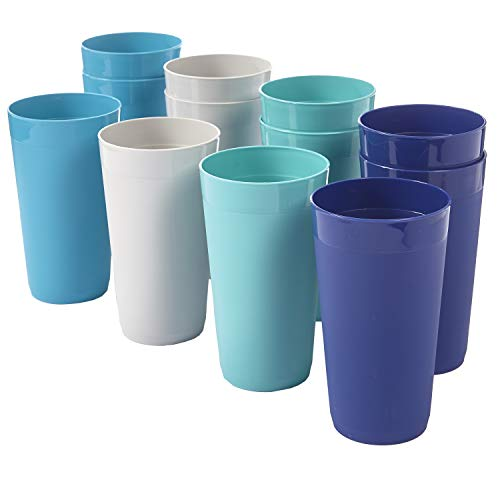 Newport 20ounce Unbreakable Plastic Tumblers | set of 12 in 4 Coastal Colors