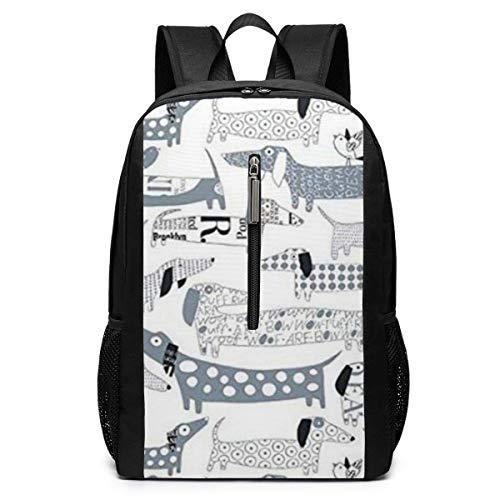 TRFashion Sac à Dos Dachshund Dogs Laptop Backpack 17 inches Travel Gym Bag Yoga Bag School Bag Book Bag for Men Women Teenagers