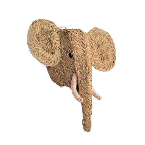 Jarapa Home Figura Decorativa de Esparto - Cabeza de Elefante Trenzada a Mano, Hecha en España. Decoración Estilo Boho Chic, Natural o rústico (MOD3-60x55x30cm)
