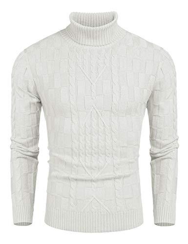 COOFANDY Herren Rollkragen Turtleneck Strickpullover Stehkragen Pullover Sweater Warme Basic Feinstrick Rollkragenpullover Weiß M