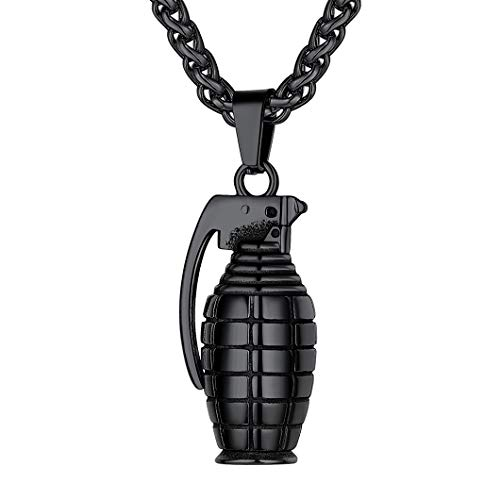 Richsteel Black Grenade Necklace Mens Stainless Steel Jewelry Punk Military Bomb Pendant with Chain 22''