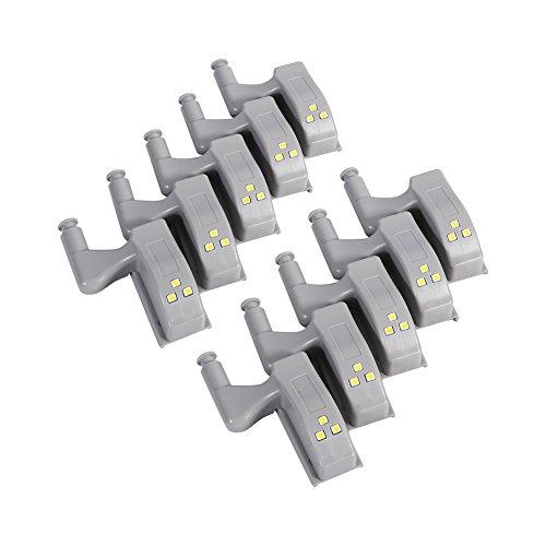 【10個入り】キャビネットヒンジLedライト ヒンジLEDセンサーライト キャビネット・食器棚・ベッドルーム・キッチン・リビングルームなどに適用 電池式 3Led 内側(白光)