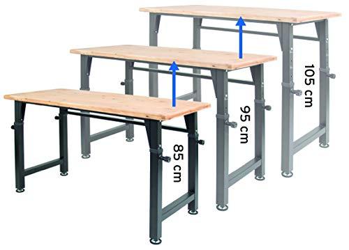 rikta höhenverstellbare Werkbank | höhenverstellbarer Arbeitstisch | ca. 135 (B) x 60 (T) x 85/95/105 (H) cm | Belastbarkeit 200 kg | FSC Holz-Arbeitsplatte