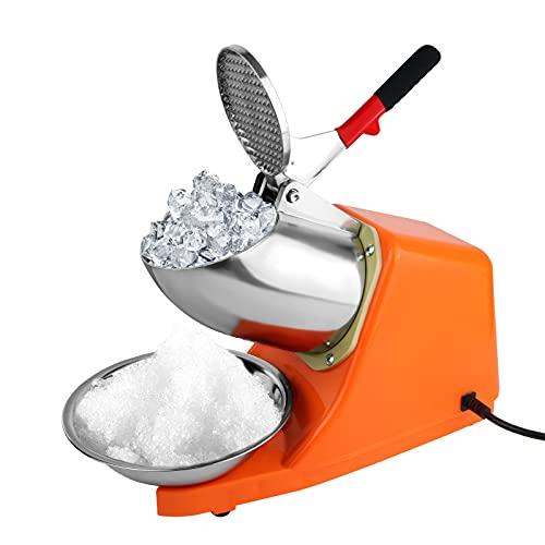 Tritaghiaccio elettrico a doppio coltello, 300 W, 220 V-240 V, macchina per il ghiaccio, macchina per frullati, volume del ghiaccio rotto: 65 kg/h, per ristoranti, bar, feste, colore: arancione