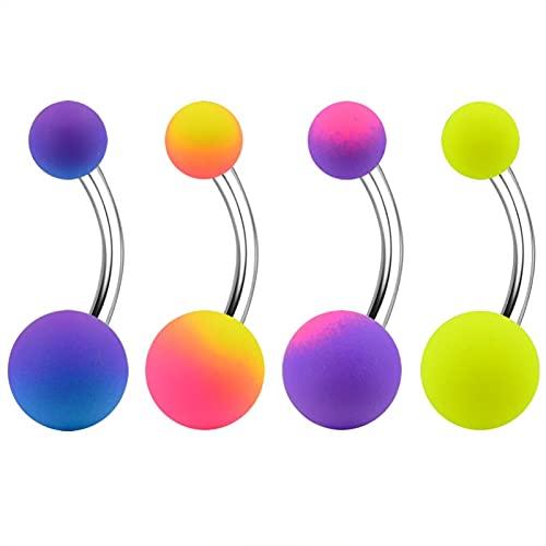 SALAN 4 Pezzi/Set Anelli per Piercing All'ombelico Acciaio Gomma Verniciato Colorato Soft Touch Arcobaleno Piercing All'ombelico Gioielli per Il Corpo