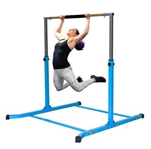 Pro-Gymnastics Gymnastics Kip Bar Horizontal Bar Professional Junior Gymnastic Training High Bar Asymmetric Bar 13 Level Height Adjustable Expandable 3 to 5 FT Cushioned Bar & Curved Legs (Blue)