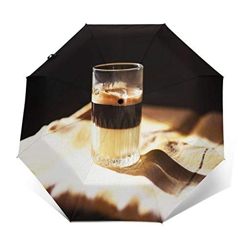Regenschirm Taschenschirm Kompakter Falt-Regenschirm, Winddichter, Auf-Zu-Automatik, Verstärktes Dach, Ergonomischer Griff, Schirm-Tasche, Kaffee Kondensmilch