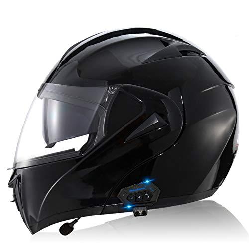 ZLYJ Bluetooth Motocicleta Casco Integral, Abierto Cascos de Moto, Modulares Casco con Anti-Niebla Doble Visera, Profesional Unisex Casco Motocross, Certificado ECE K,L