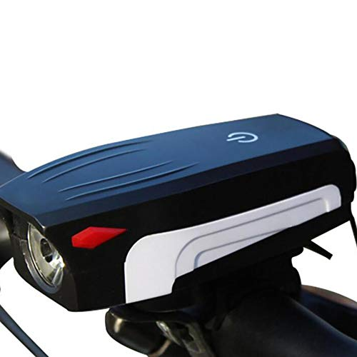 Luz de bicicleta, recargable por USB, impermeable, 5 modos de luz, luces delanteras para bicicleta, súper brillante, negro y blanco