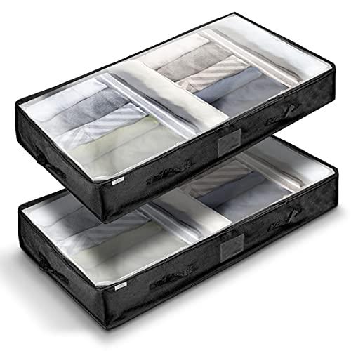 udonia ® Unterbettkommode - 2-er Set robuster Aufbewahrungstaschen 100x50x18 cm für Decken und Kissen - Kleideraufbewahrung mit 100 l Fassvolumen - NEU 6 verstärkte Griffe für mehr Stabilität