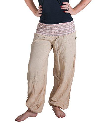 Vishes - Alternative Bekleidung - Sommer Chino Haremshose aus Baumwolle mit super elastischem Bund - handgewebt Natur