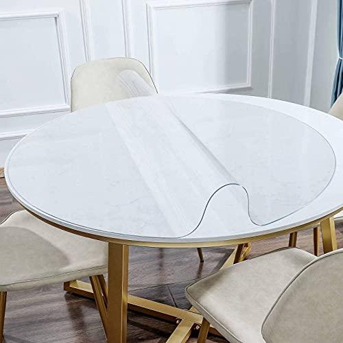 PVC Transparente Redondo Mantel, Vinilo Impermeable Prueba de Aceite Protector de Mesa Fácil de Limpiar Plástico Mantel de Mesa para Cocina Comedor Oficina-Transparente2.0mm-80cm(31.5inch)