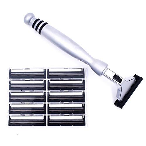 Super Safety Razors Alle Metall-Schwergewichts-Chrom-Atra,Vector, Contour Kompatibel Twin Blade-Razor & 10 Personna Pivot Plus-Blades