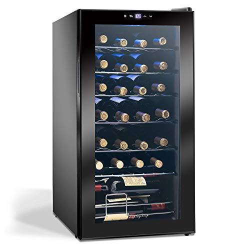 Display4top Frigorifero Cantinetta Frigo per Vini e bevande, Supporta 28 bottiglie, Porta in vetro temperato, termostato pannello touch(82L)