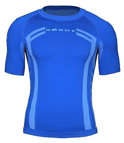 Norde Herren Funktionswäsche Thermoaktiv Atmungsaktiv Base Layer Kurzarm Outdoor Radsport Running (Blau, L)