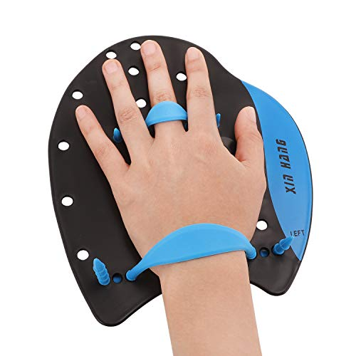 IPENNY Adjustable Swim Paddles Hand Paddles for Swim Training Professional Contoured Swim Training Paddles with Adjustable Strap for Kids Adults Men Women
