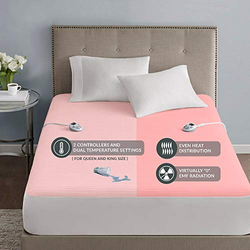 Serta Waterproof Mattress Pad-Cotton Blend Electric Bed Warmer with 10 Heat Settings Controller Zero Radiation, Auto Shut Off, 18' Deep All Around Elastic Pocket, Cal King, White