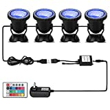 Pond Light 36 LED 100% Waterproof Underwater Submersible Lights, 4 Pack Multi-color & Adjustable & Dimmable Aquarium...