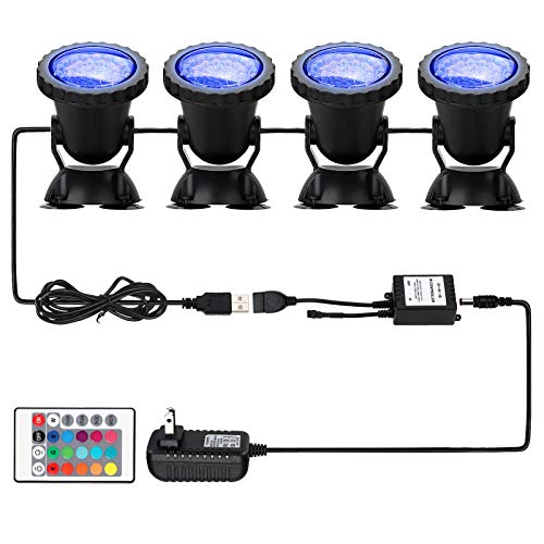 Pond Light 36 LED 100% Waterproof Underwater Submersible Lights, 4 Pack Multi-color & Adjustable & Dimmable Aquarium Light with Remote Control, Landscape Lamp for Fish Tank Swimming Pool Fountain