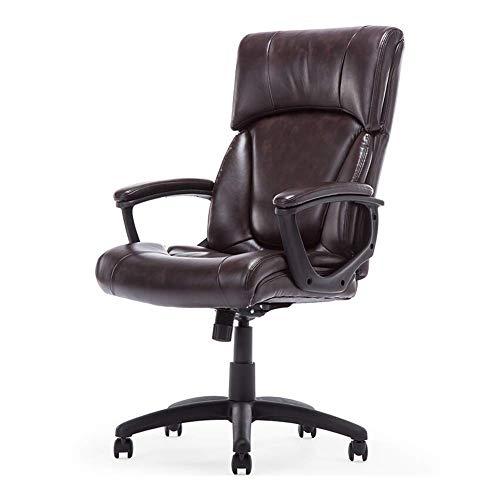 GaoF Chaise de Bureau, Chaise d'ordinateur Chaise de Jeu exécutif, Main Courante Fixe en Cuir d'unité Centrale, Plateau antidéflagrant épais, Pieds en Nylon, Roue d'unité Centrale