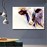 Watercolor Art Living Room Print Poster Modern Animal Image Decoration Picture Blue Cow Wall Art Canvas Painting (no Frame) A2 30x40CM