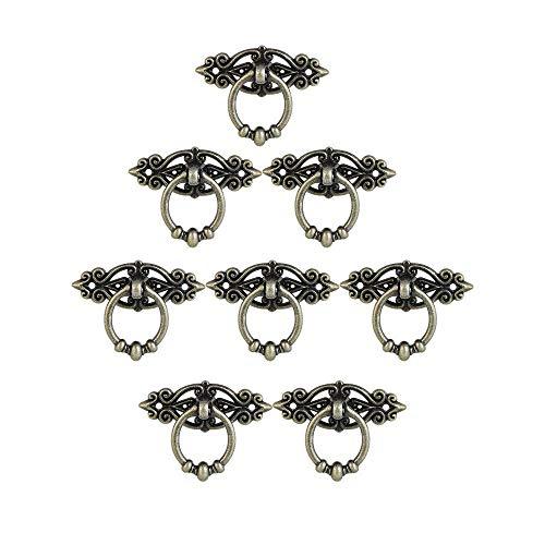 8 Pezzi Maniglia Pomello Classiche per Mobili Manopole Pull Ring per Mobili Antichi Ottone Vintage per Cassetti Ante Armadio Tiraggio Dell'anello del Cassetto
