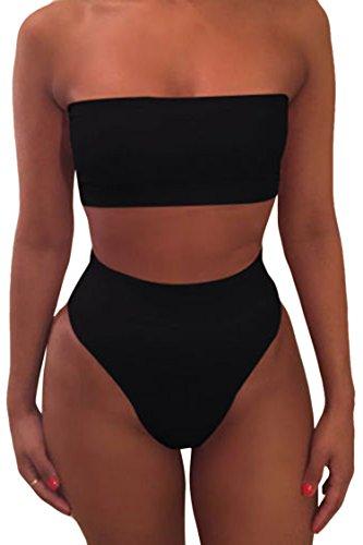Viottiset Bandeau Top Damen Bikini Set High Waist Badeanzug mit Abnehmbare Träger M Schwarz