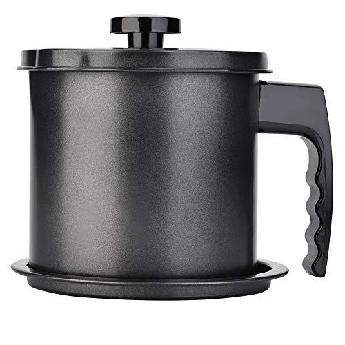 Recipiente de grasa de tocino de 1.3L con colador Lata de cocina negra Lata de aceite de cocina Recipiente dispensador de botella para aceite de freír grasa usado