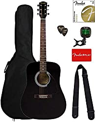professional Acoustic Guitar Fender FA-115 Dreadnought – Black Kit with Case, Tuner, Strings, Straps and more