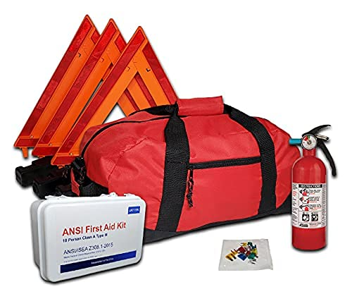Safety and Trauma Supplies Essential All-in-One DOT OSHA ANSI Compliant Kit with Kidde 5BC Fire Extinguisher Model FA5G