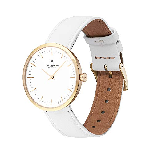 Nordgreen Infinity skandinavische Damenuhr in Gold mit weißem Ziffernblatt und austauschbarem 32mm Leder Armband Weiß 11208
