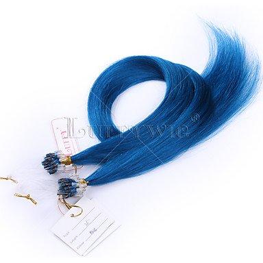 MZP 10a haut grade extensions micro-cheveux boucle couleur bleue 8-28inch droite de 100 g 100% cheveux brésiliens , 12 inch
