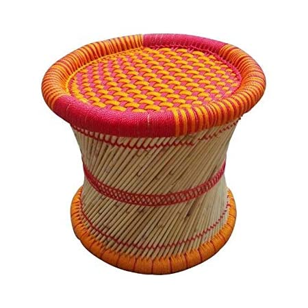 Heemo Eco Friendly Cane Wood Bamboo Sitting Stool Mudda For Indoor Outdoor Orange Red Set Of 1 Amazon In Home Kitchen